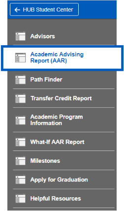 Screenshot of Academic Progress sub-navigation with Academic Advising Report (AAR) highlighted.