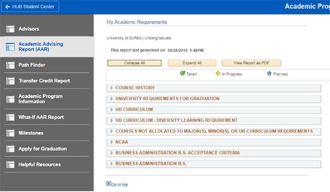 Screenshot of a fulfilled and collapsed Academic Advisement Report (AAR) requirement.