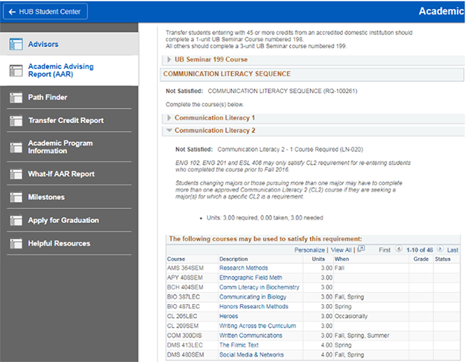 Screenshot showing how unfulfilled requirements are expanded in an Academic Advisement Report (AAR).