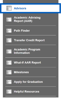 Text: Screenshot of Academic Progress sub-navigation with Advisor highlighted.
