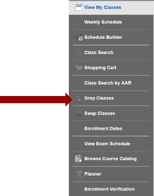 Screenshot of My Classes sub-navigationwith an arrow pointing to Drop Classes option.