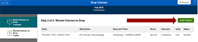 Screenshot of Review Classes to Drop page with list of classes being dropped and arrow pointing to Drop Courses button.