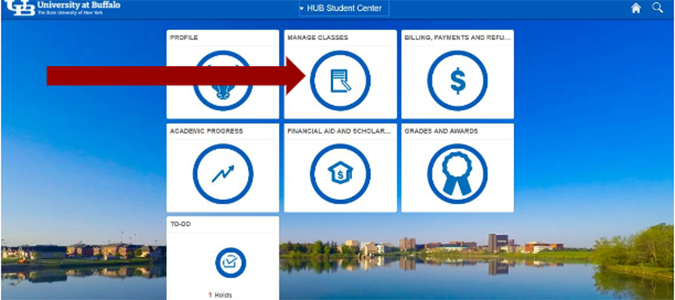 Screenshot of HUB Student Center with arrow pointing to the Manage Courses tile.