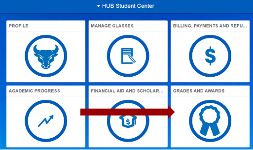 Screenshot of HUB Student Center homepage with an arrow pointing to the Grades and Awards tile.