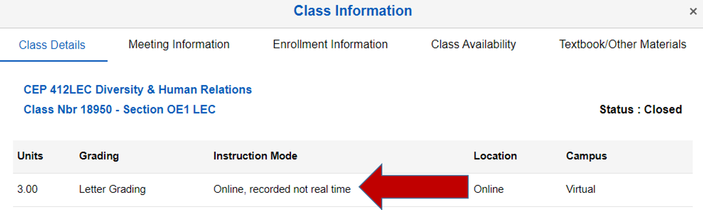 Screenshot of the class details with an arrow pointing to the class instruction mode.