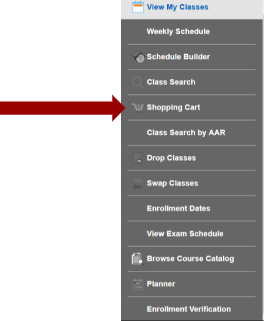Screenshot of Manage Classes sub navigation with an arrow pointing to Shopping Cart.