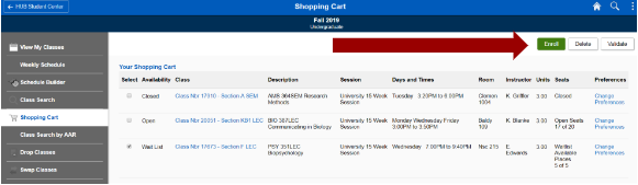 Screen shot of Shopping Cart with an arrow pointing to the Enroll button.