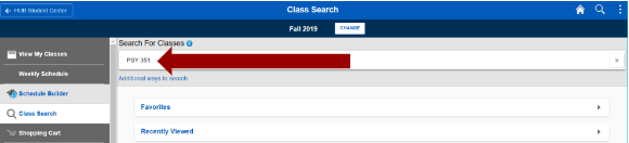 Screenshot of PSY351 added as search criteria in the Search for Classes field.
