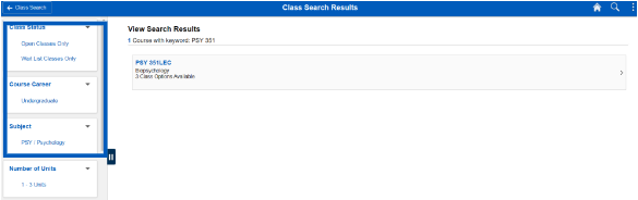 Screenshot of class search results with options to filter outlined in the left-hand navigation.
