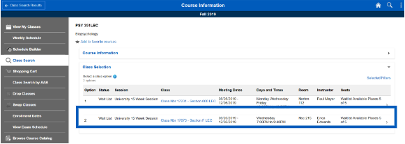 Screenshot of class information with a box outlining a specific class section that a student should select to register.