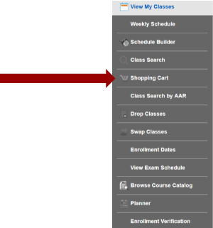 Screenshot of Manage Classes sub navigation with arrow pointing to the Shopping Cart.