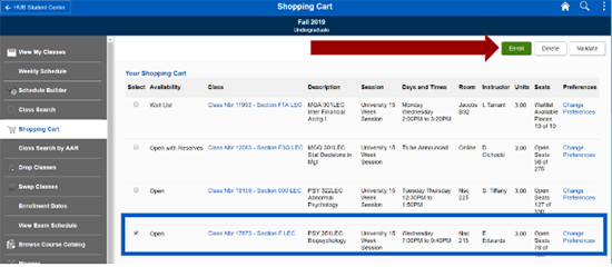 Screenshot of Shopping Cart screen with PSY 351 selected and an arrow pointing to Enroll button.