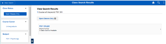 Screenshot of classsearch results using PSY 351 as search criteria.