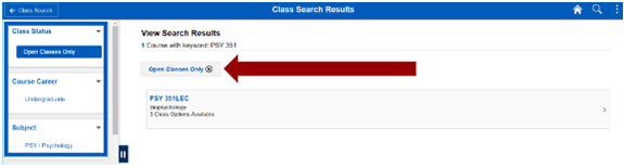 Screenshot of class search results with options to filter outlined in the left-hand navigation. Arrow pointing to Open Classes Only criteria that has been selected.