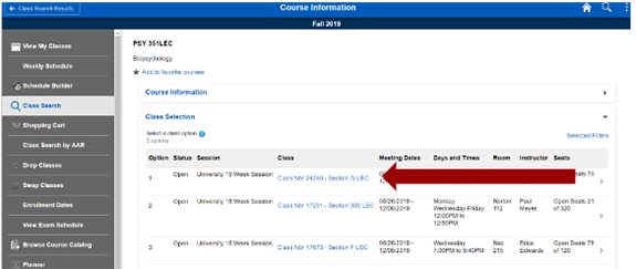 Screenshot of class information with an arrow pointing to aclasshyperlinkfor more information.