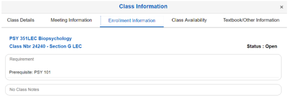 Screenshot of class information results for PSY 351.