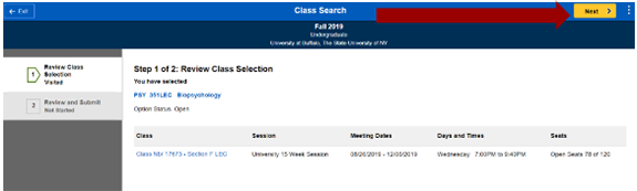 Screenshot of PSY 351 class search selection with an arrow pointing to the next button.