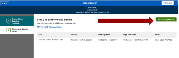 Screenshot of PSY 351 class search selection with an arrow pointing to the Add to Shopping Cart button.