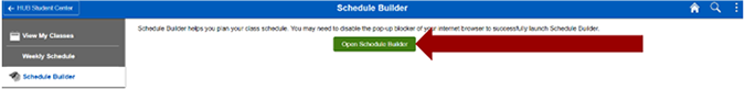 Screenshot of the Schedule Builder page with an arrow pointing to Open Scheduler Builder button.
