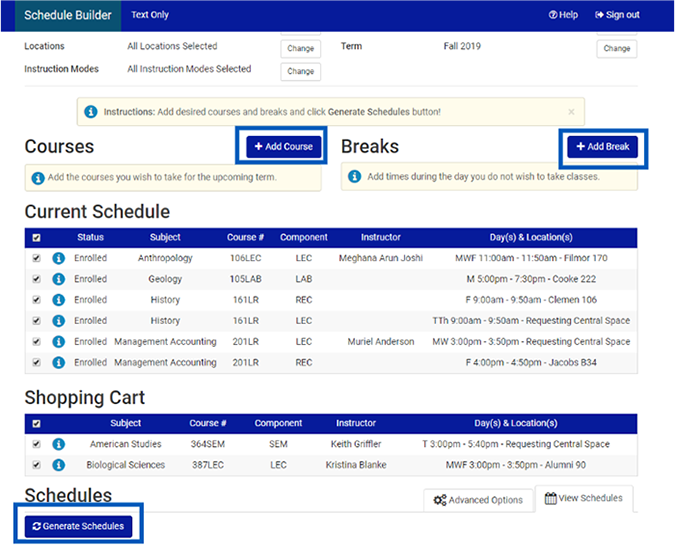 Screenshot of the schedule builder page with Add Course, Add Break, and Generate Schedules buttons highlighted.