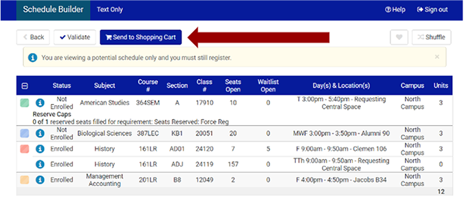 Screenshot of Schedule Builder page with an arrow pointing to Send to Shopping Cart button.