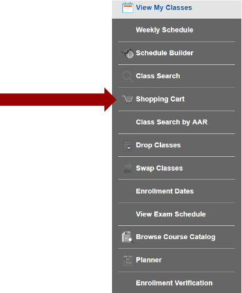 Screenshot of Manage Classes sub navigation with an arrow pointing to the Shopping Cart.