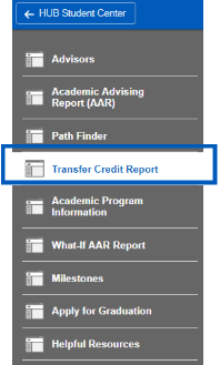The transfer credit report button is highlighted.