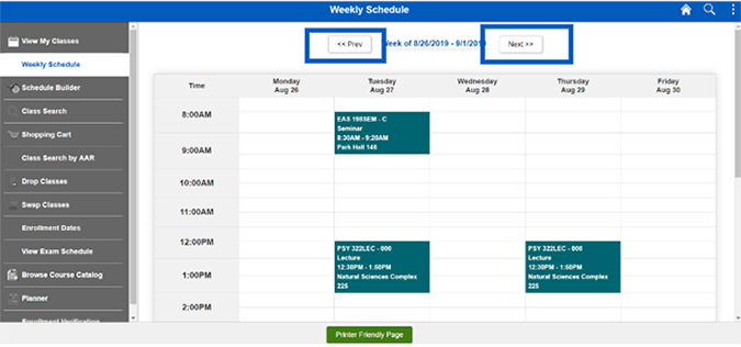 Screenshot showing a weekly schedule with Previous and Next buttons highlighted.