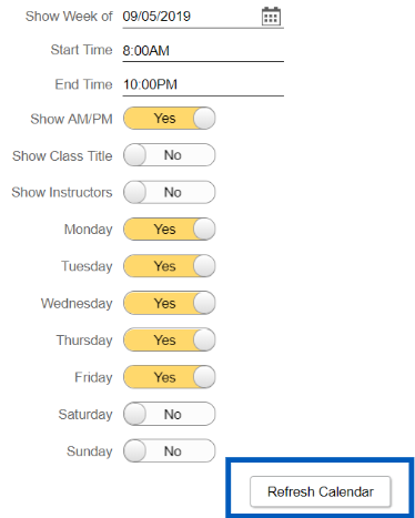 Screenshot showing display options for the weekly schedule with refresh calendar button highlighted.