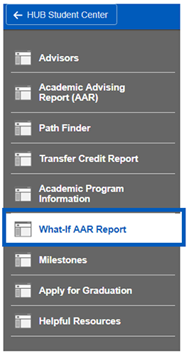 Screenshot of Academic Progress sub-navigation with What-if AAR Report highlighted.