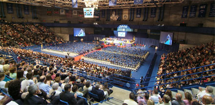 Graduation ceremony in Alumni Arena.