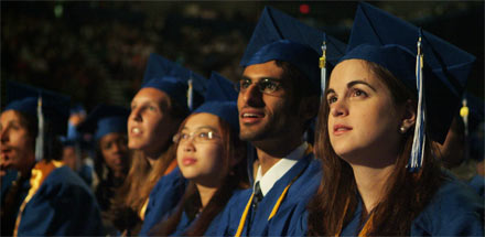 Students at graduation ceremony.