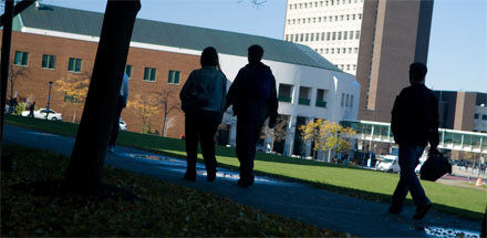 Students walking on UB's North Campus.