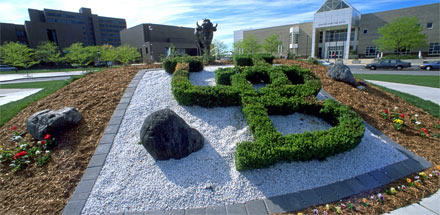 UB topiary in front of Center for the Arts.
