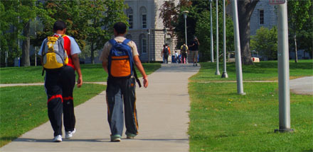 Students walking on UB's South Campus.