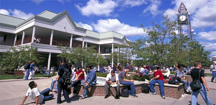 Students in the Commons Courtyard.
