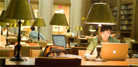 Students studying in the Health Sciences Library.