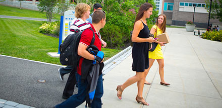 Students walking on South Campus in the summer.