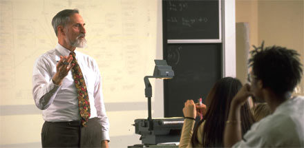Professor teaching a class.