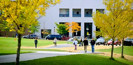 Students walking on UB's North Campus near the Student Union.